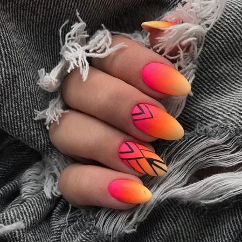 Uñas Rojo y Naranja
