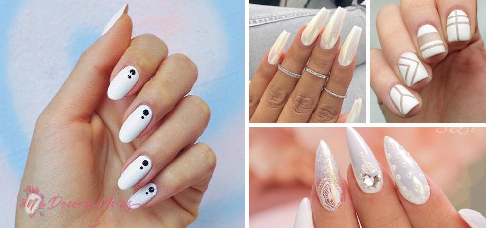 Uñas decoradas blancas